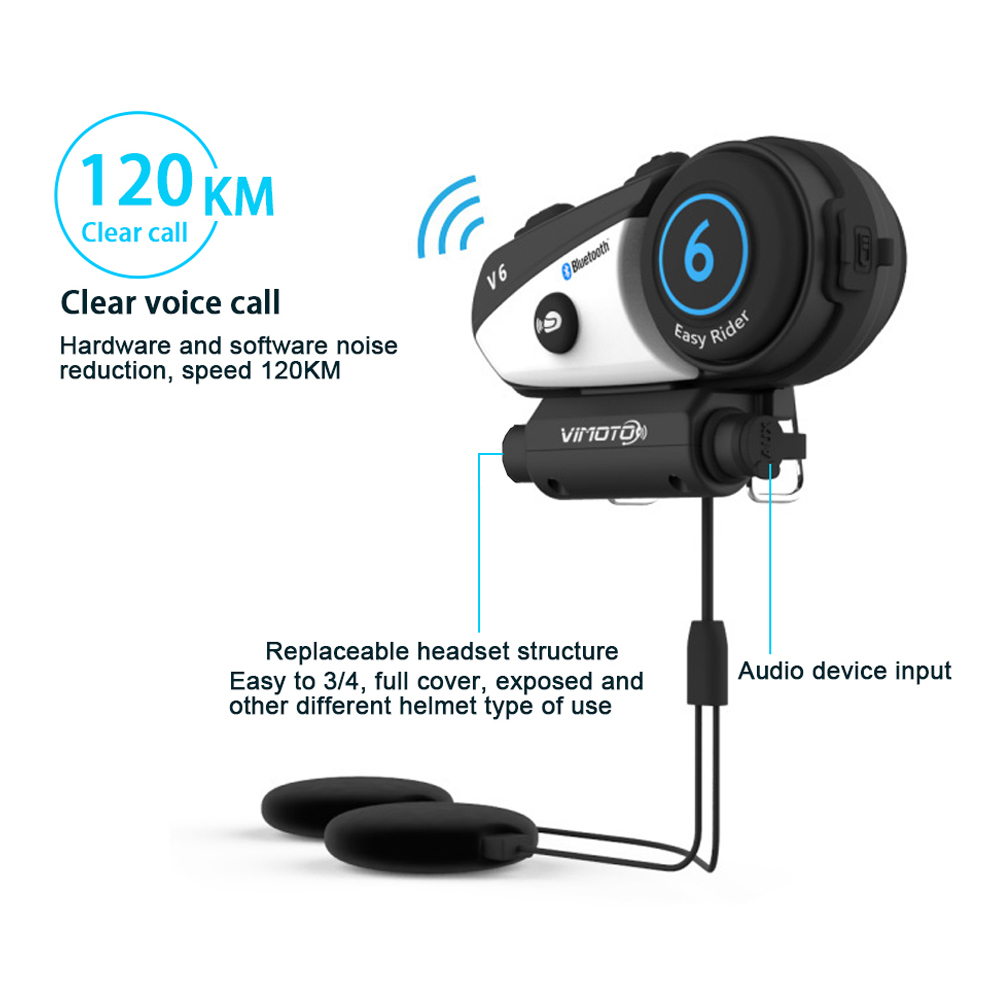 Vimoto V6 BT Interphone Motorcycle Helmet Headset Intercom simultaneously pair 2 different Bluetooth High-fidelity transmission english version vimoto v6 600mah
