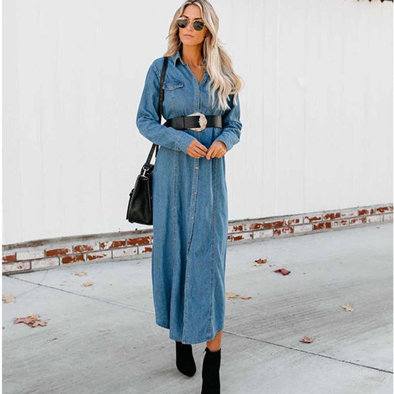 Fashion Women Vintage X- Long Denim Trench Coats With Sashes Ladies Turn-Down Collar Jeans Casual Loose Windbreaker Outwear