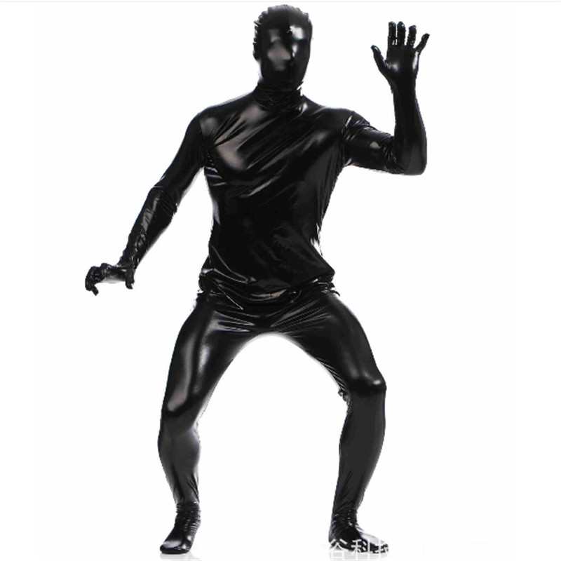 high quality Men Glue Zentai Suits Shiny Metallic Full Body One Piece Skin Cosplay Costume Halloween Bodysuit Latex Pvc Tights