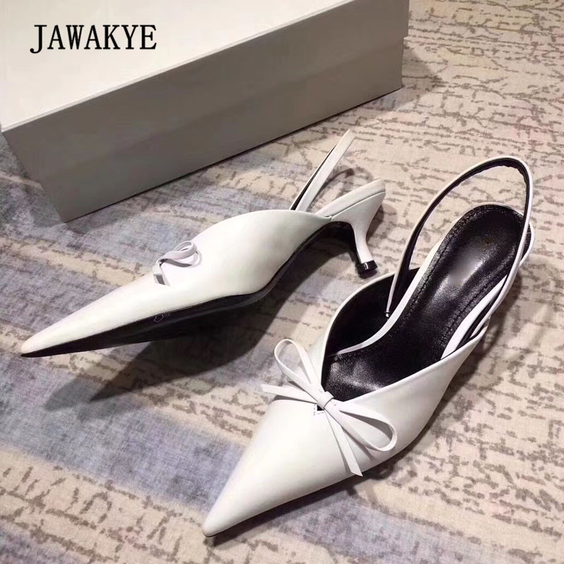 цена 2018 White Real Leather Bow Knot V Gladiator Sandals Woman Pointed Toe Strange Heel Shoes Female Slip On Muller Shoes Woman
