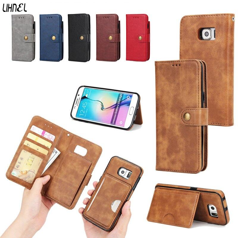 Lihnel Съемная Магнитная касса сцепления держатель карты Бизнес Для мужчин Для женщин кошелек чехол для Samsung Galaxy S6Edge g9250