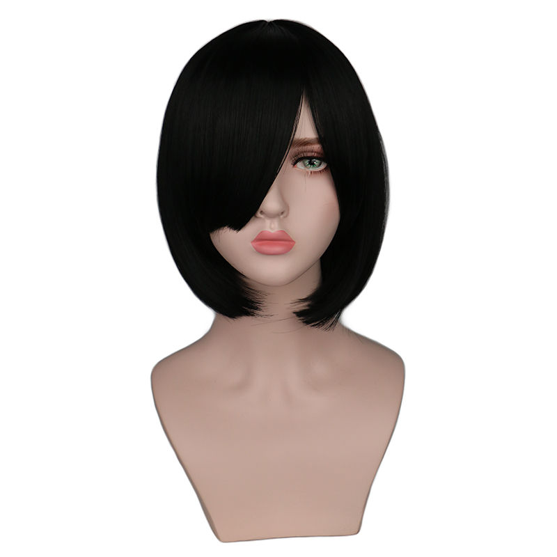 QQXCAIW Short Bob Straight Women Girls Natrual Black Light Brown Dark Brown Heat Resistant Synthetic Hair Wigs