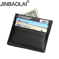 Wholesale 100% Real Leather Convenient ID Pocket Bank Credit Card Case Thin Card Wallet Men Cash Cards Pack Bus Card Holder NEW