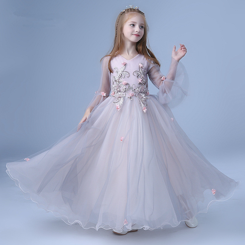 Elegant Fancy Performance Prom Girls Dress Kids Teen Children Butterfly Embroidery Long Sleeves Birthday Party Pageant Gowns