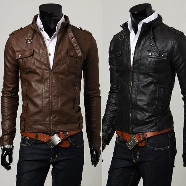2014 Spring Fashion Male Jacket Water Short Washed Leather Design Slim Stand Collar Motorcycle Leather Clothing