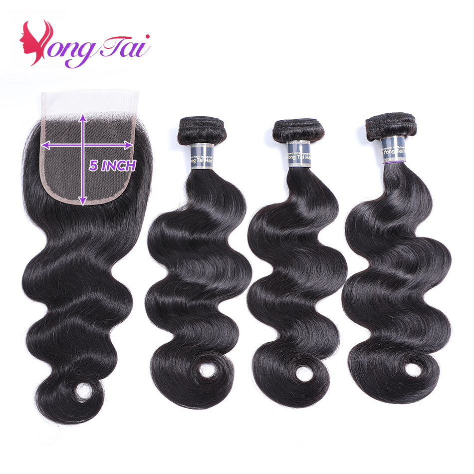 Yuyongtai Brazilian Body Wave 3 Bundle With Closure Human Hair Extension 5*5 Closure With Bundles Non Remy Free Shipping