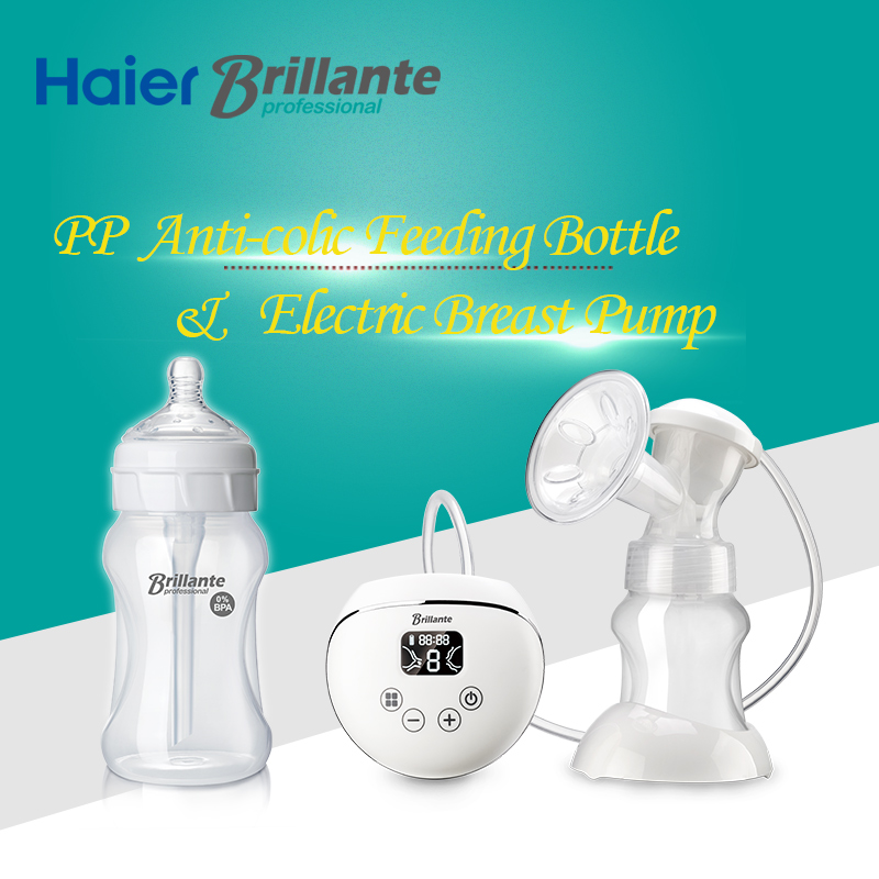 Haier Brillante USB Electric Breast Pump For Breast Milk & 230mL/8oz PP Anti-colic Baby Feeding Bottle Milk Bottle For 6m+ Baby 2016 new baby electric breast pump safe material pp silica gel mother breast reliever capacity 140 ml baby nursing bottle