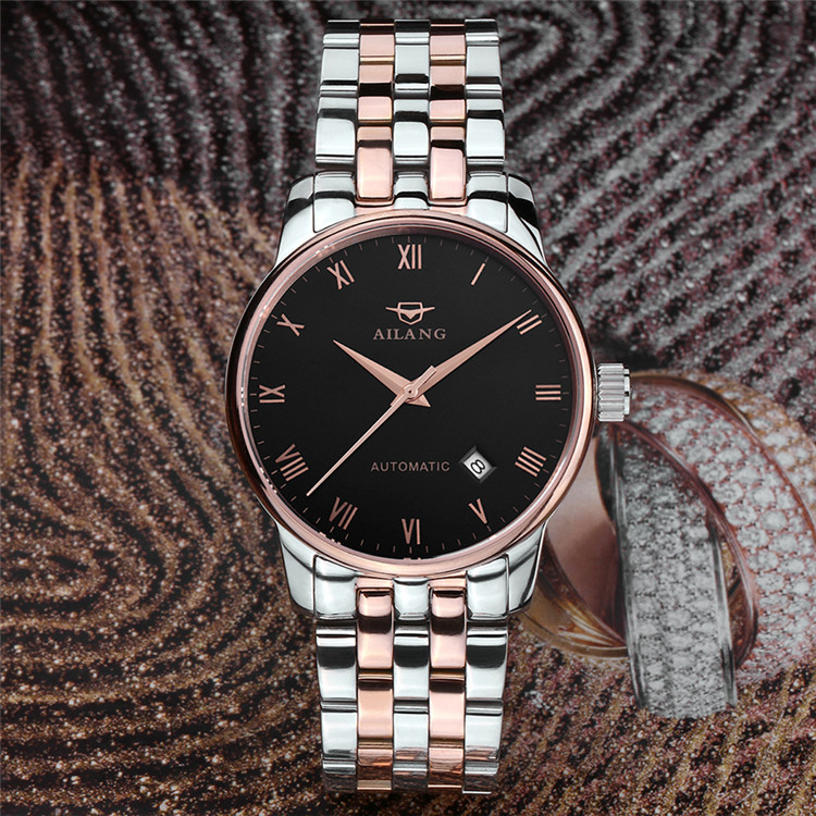 Fashion AILANG Men Vintage Roman Number Dress Watches Auto Self Winding Business Full Steel Wrist watch Calendar Relojes NW7199 brand ailang men luxury gold plated business dress watches stainless steel calendar wrist watch auto self wind reloj 3atm nw3317