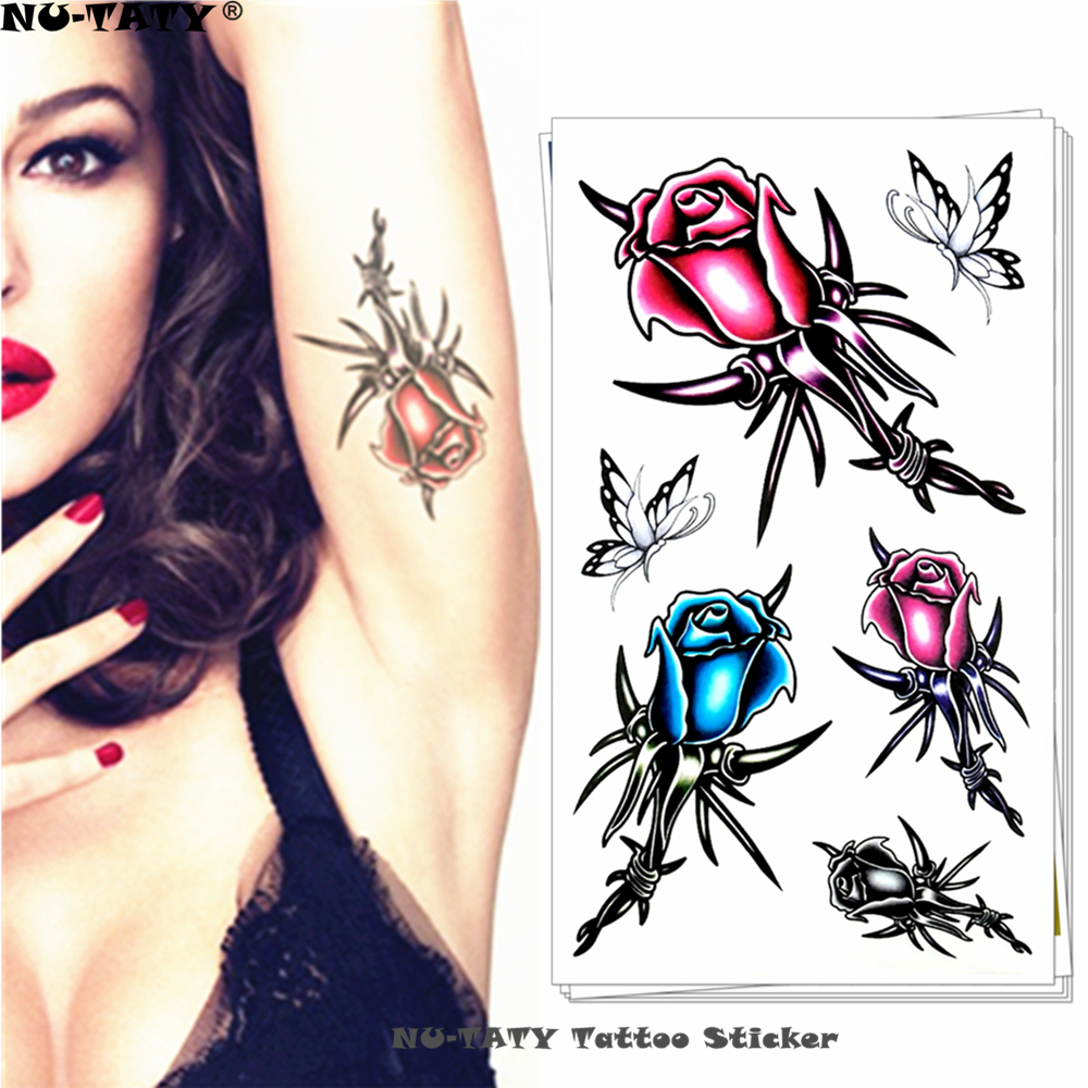 Us 059 15 Offnu Taty Róża Ciernie Tymczasowy Tatuaż Body Art Arm Flash Naklejki Z Tatuażami 1710 Cm Wodoodporny Fałszywe Henna Bezbolesne