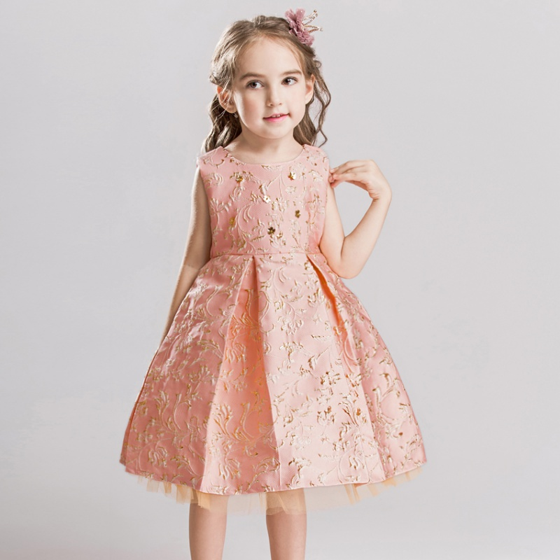 Children 's Performance Princess Dresses New Girls Sleeveless Embroidered Beautiful Wedding Dresses Gilding Flower Dress 2018 children s catwalk tail dress large children s flower princess sequin embroidered children s dress