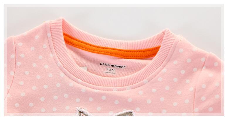Little maven children brand baby girl clothes 2017 autumn new girls long sleeve Terry Knitted polka dot fox pink t shirt C0032