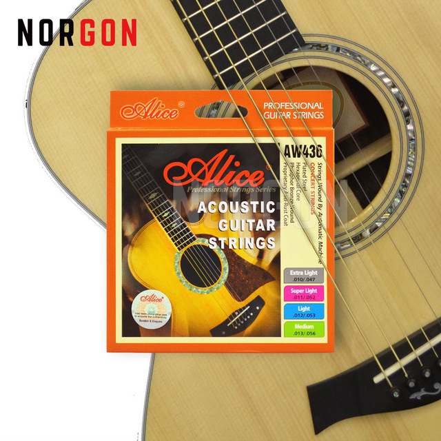 Alice Acoustic Guitar Strings Stainless Steel Core 6-String Accessories Musical Instruments AW436