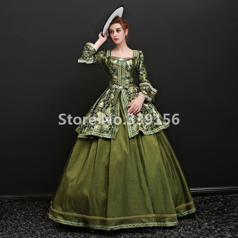 Upscale Victorian Gothic Theatre Costume Medieval Gowns Marie Antoinette Printing Dress Historical Gown