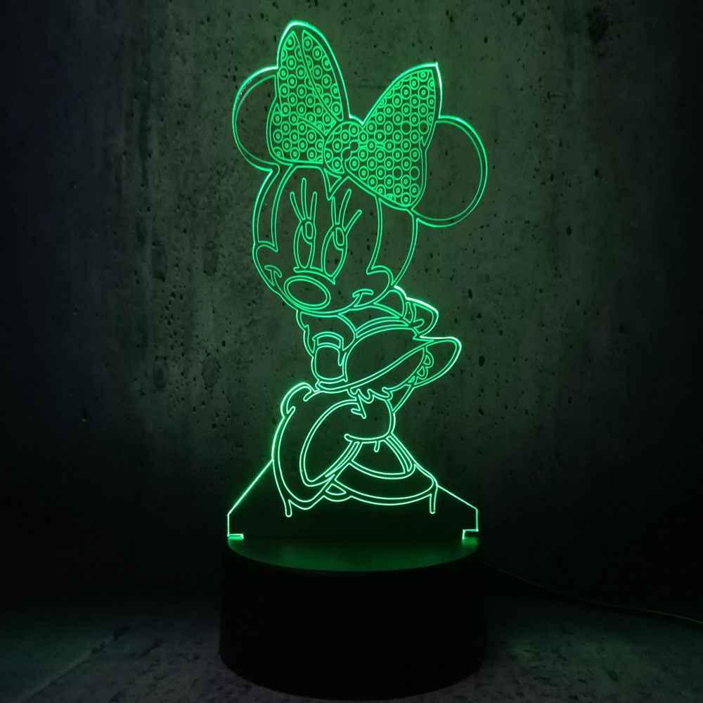 Ciglia lunghe Minnie Mouse HA CONDOTTO LA lampada timida ragazza Che Indossa un arco a forma di ha condotto la luce di notte per bambini creativi regali ragazze in camera divertente decor