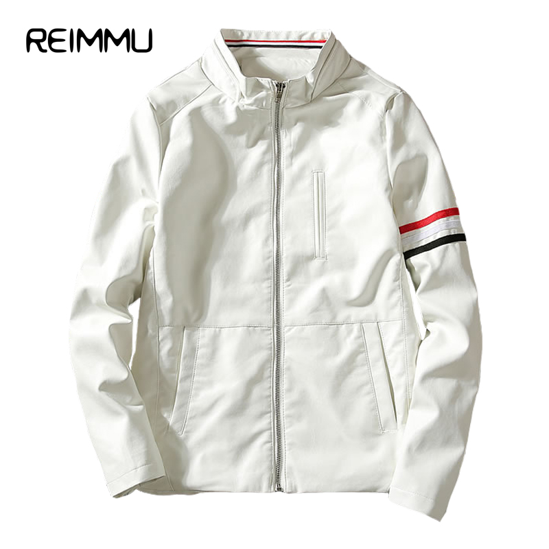 Reimmu Leather Jacket Men New Fashion Famous Brand Clothing Mens Leather Jacket Plus Size 5XL Autumn Male Leather Jacket Sale