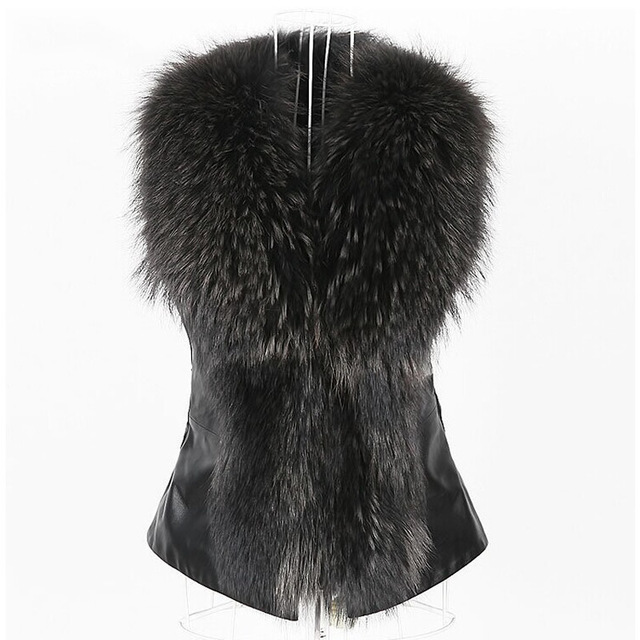 PU Leather Thick Full Pelt Black Mink Fox Fur Collar Winter Vest Belt Bow Waistcoat Gilet for Women Coat Outerwear PlusSize 2016
