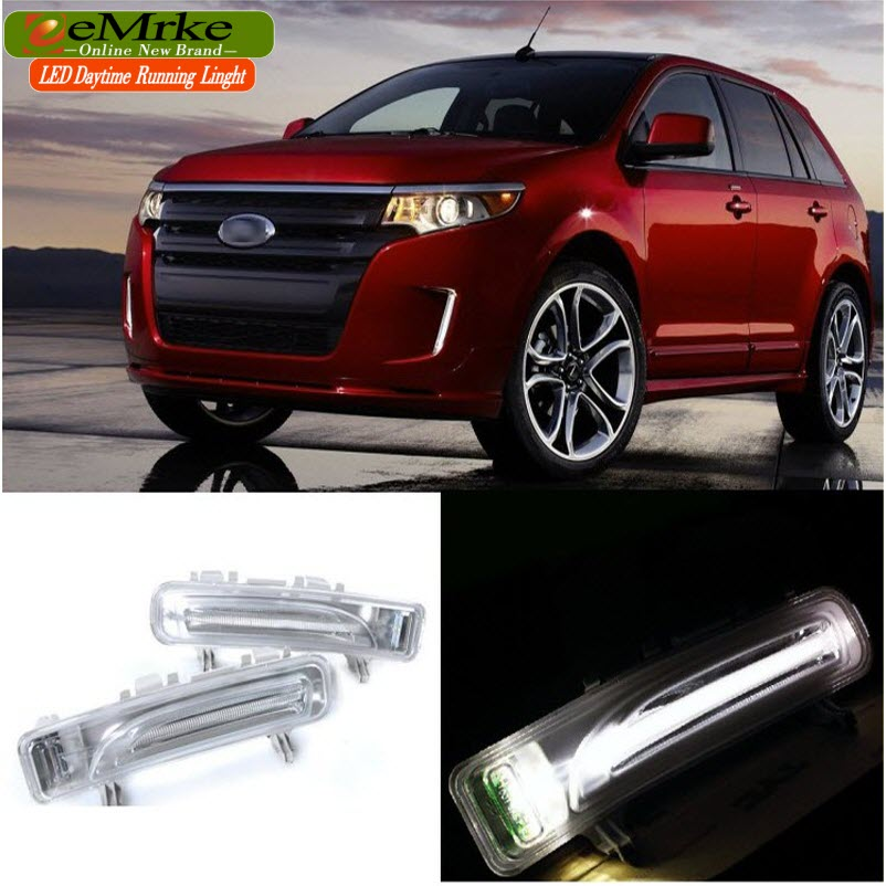 eeMrke Car LED Daytime Running Lights For Ford LIMITED EDGE 2009 2010 2011 2012 2013 High Power Xenon White Fog Cover DRL Kits car rear trunk security shield shade cargo cover for nissan qashqai 2008 2009 2010 2011 2012 2013 black beige