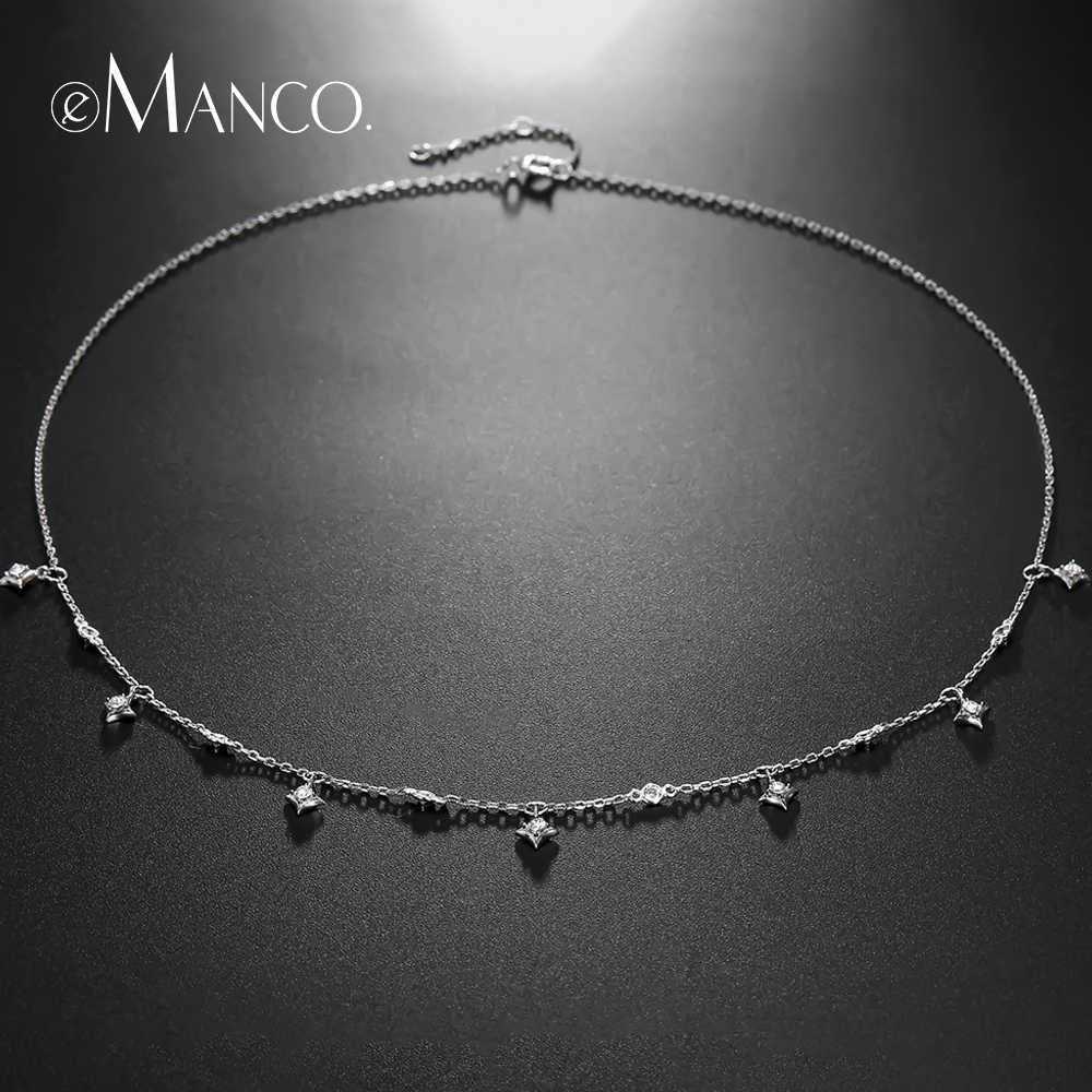 e-Manco 925 Sterling Silver Necklace Star Shape Pendant Necklace for Women Femme Collar Chain Necklace Jewelry Accessory