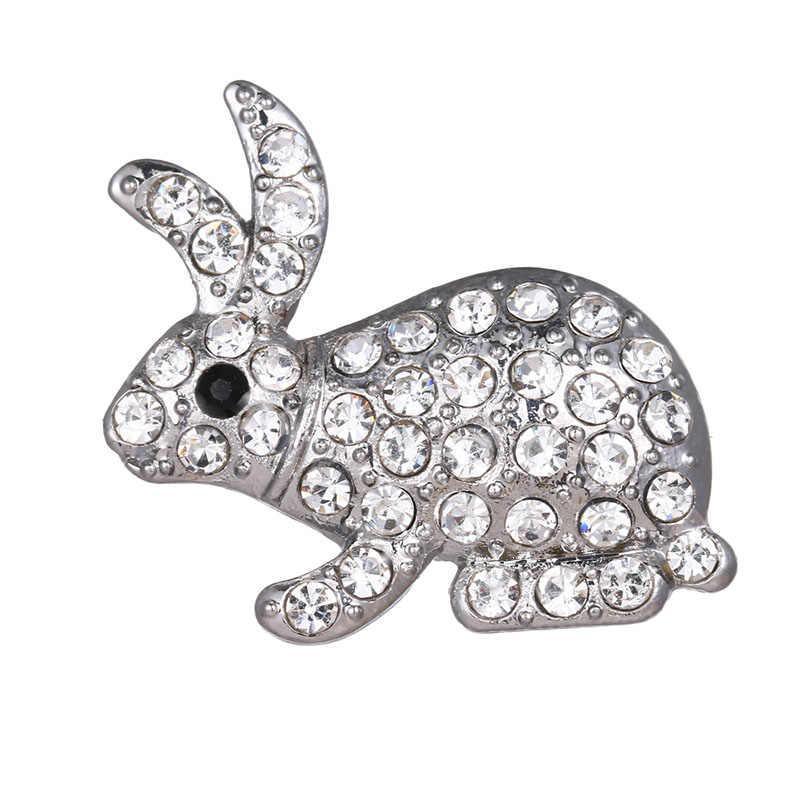 กระต่ายน่ารัก rhinestone 18 มม.ปุ่ม snap fit DIY 18MM สร้อยข้อมือ snap เครื่องประดับขายส่ง KZ1735