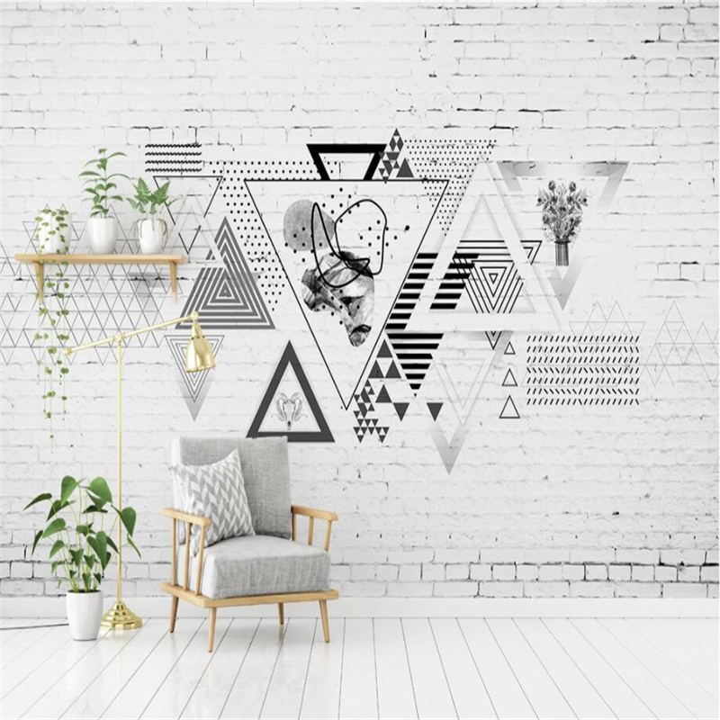 beibehang Custom 3d wall paper murals living room bedroom Nordic modern minimalistic geometric brick wall wallpaper home decor european church square ceiling frescoes murals living room bedroom study paper 3d wallpaper