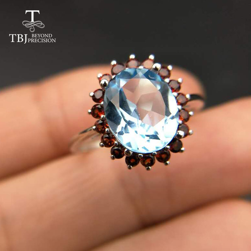 Tbj,Natural 3ct up Blue topaz 925 silver gemstone ring with natural garnet side stones gemstone Ring for women with gift box
