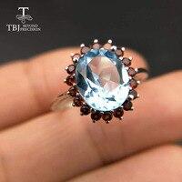 416b7274c7e6 Tbj Natural 3ct Up Blue Topaz 925 Silver Gemstone Ring With Natural Garnet  Side Stones Gemstone