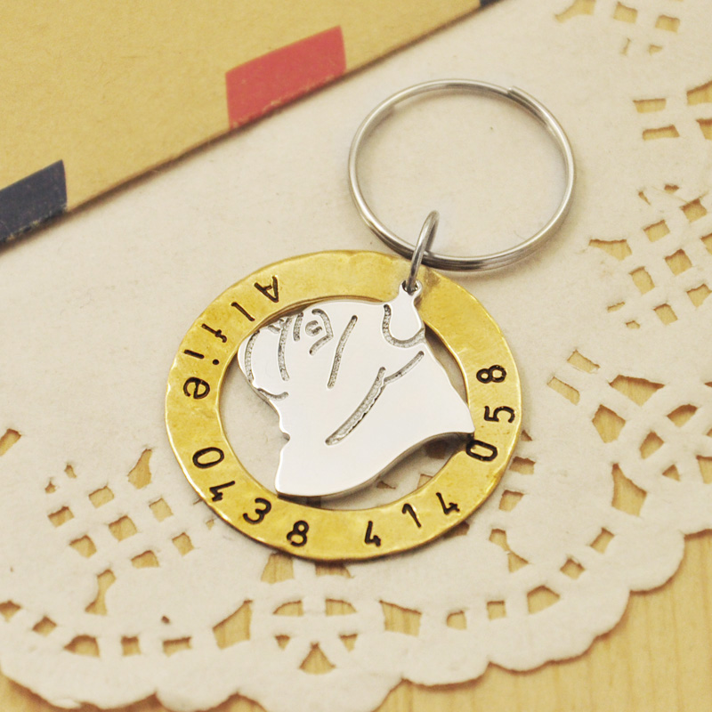 personalized bulldog id tag hand stamped pet tag customized dog id