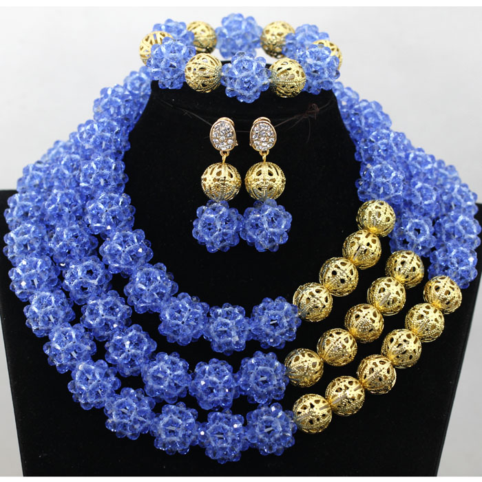 Beautiful Clear Blue African Costume Handmade Crystal Balls Jewelry Set Trendy Nigerian Wedding African Beads Jewelry Set QW039Beautiful Clear Blue African Costume Handmade Crystal Balls Jewelry Set Trendy Nigerian Wedding African Beads Jewelry Set QW039