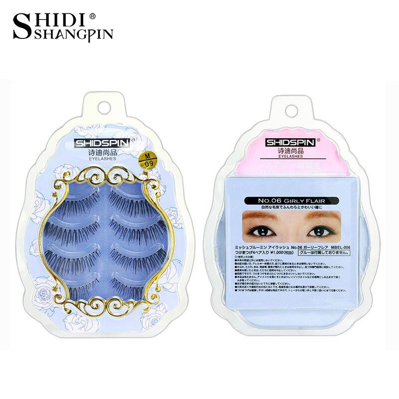 Real Handmade 4 Pairs False Eyelashes Natural Long Eyelash Extensions Makeup Crossing Synthetic Hair Strip Fake Eye Lashes M-09