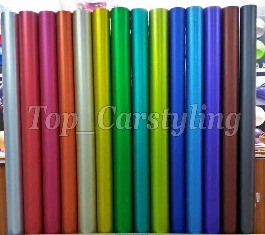 Top Qualité Métallique Mat chrome Vinyle Wrap Film avec air sortie/bulle Livraison PROTWRAPS À Faible adhérence colle TAILLE 1.52X20 M/5x67ft