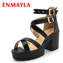 ENMAYER Big size 34-43 Women Gladiator Sandals Square High Heels Rivets Summer Shoes Open Toe Thick Platform Sandals Women Shoes купить недорого в Москве