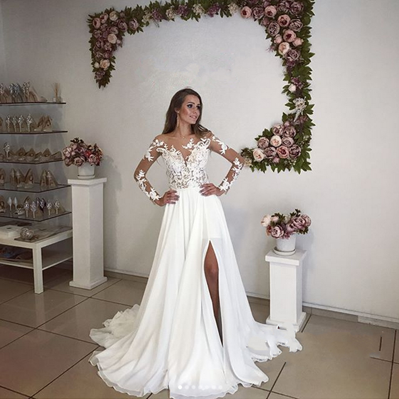 Elegant Wedding Gown With Sleeves: Elegant Long Sleeve Lace Chiffon Wedding Gowns Pure White
