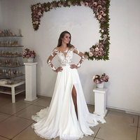 Elegant Long Sleeve Lace Chiffon Wedding Gowns Pure White Ruffles Bridal Gowns Front Slit Floor Length Dresses Custom Made
