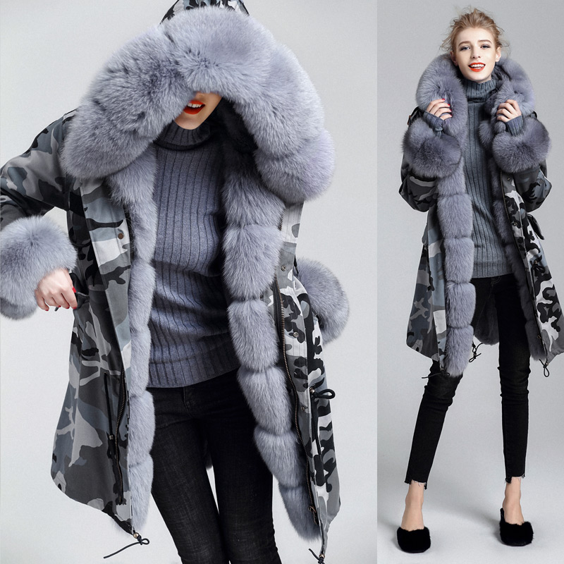 Real fur Coat Women Winter Warm Long Removable Rex Rabbit Fur Lined Parka Jacket 100% Natural Fox Collar Hood