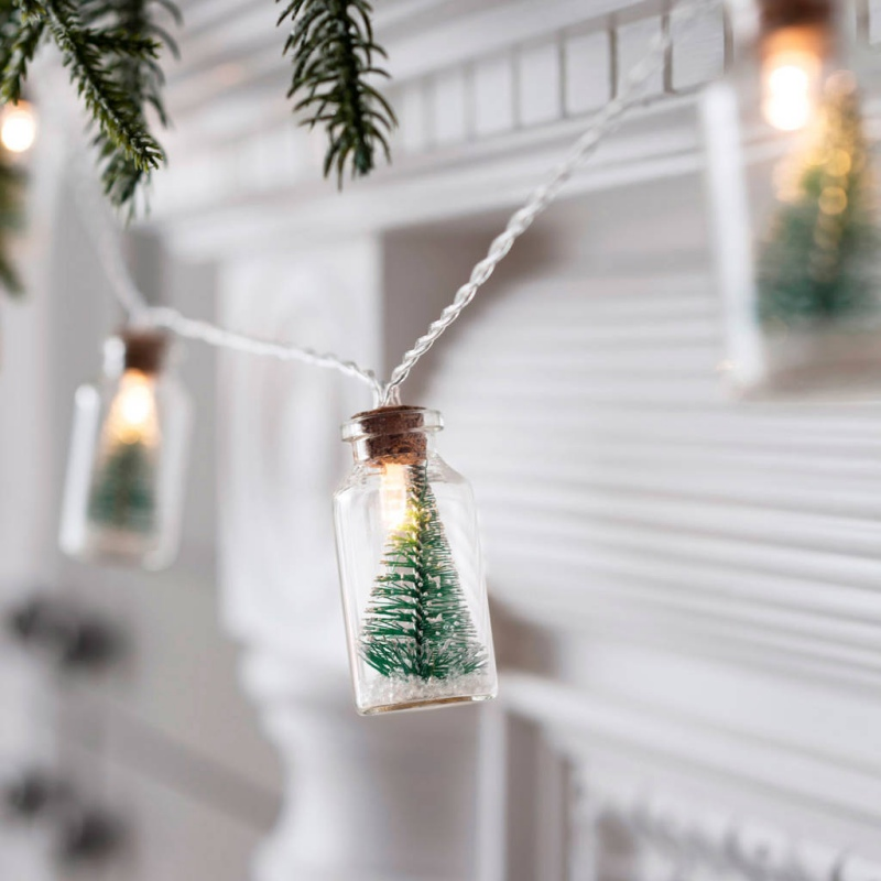 Christmas Lamp Glass Bottle Light String Shop Window Led Copper Wire Holiday  Home Decoration Decor