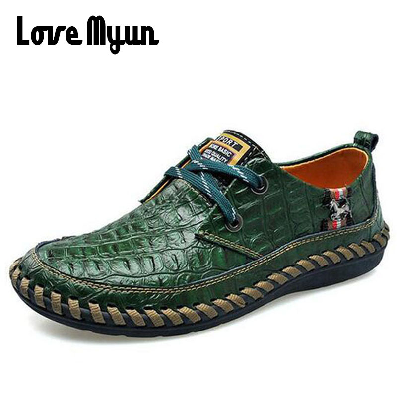 Mature men's leather retro shoes casual lace up sneakers Crocodile pattern Mens fashion flat shoes Middle-aged size 38-44 AA-18 fashion tassels ornament leopard pattern flat shoes loafers shoes black leopard pair size 38