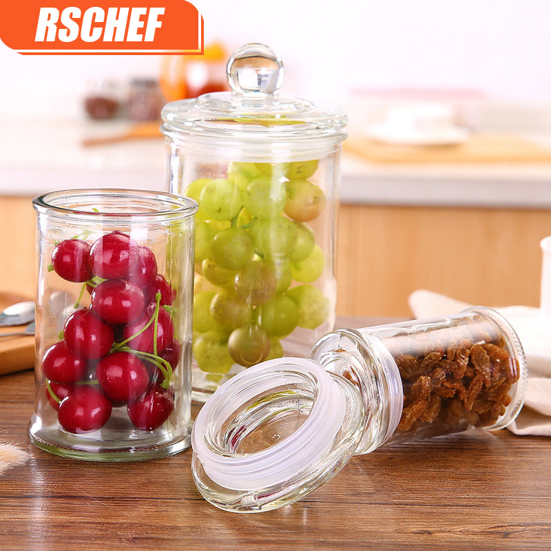 RSCHEF Glass storage cans sealed cans home kitchen cans can be repeatedly used tea dried fruit cereal tea