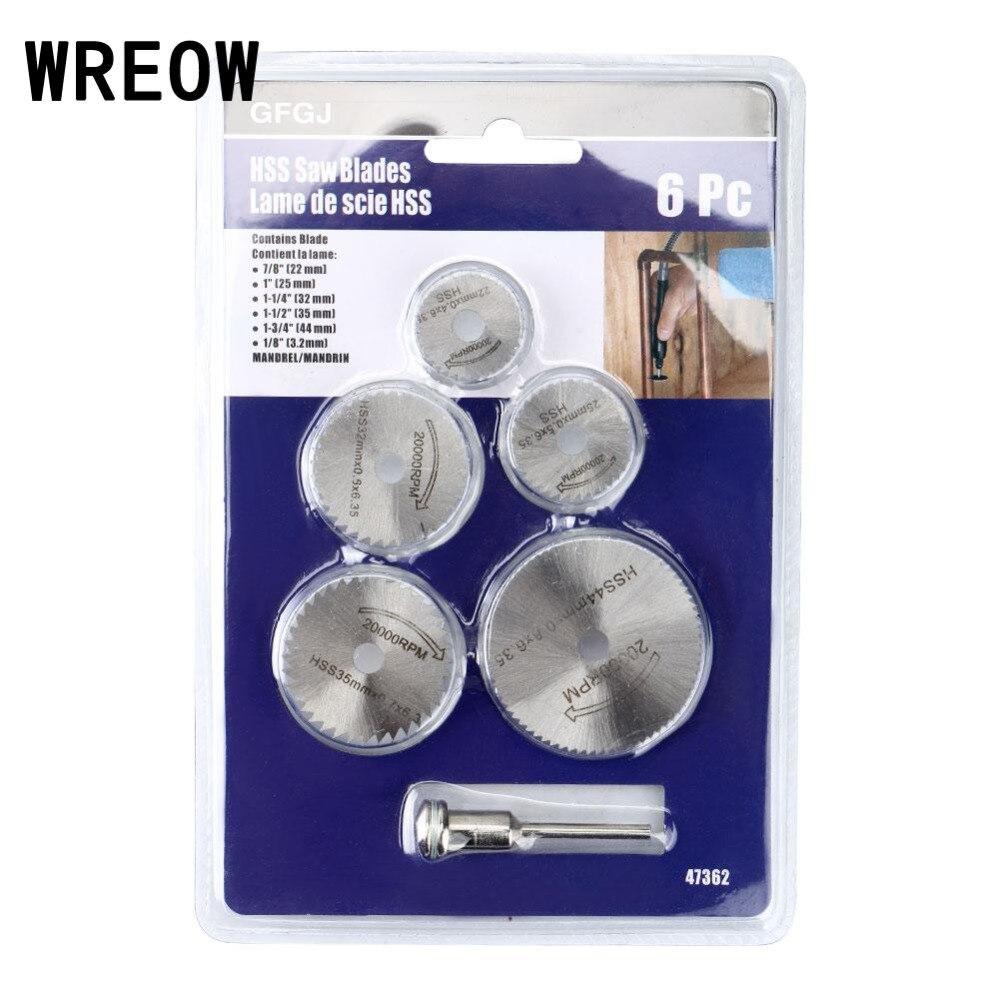 6pcs/set Mini HSS Circular Saw Blade Rotary Tool For Dremel Metal Cutter Power Tool Set Wood Cutting Discs Drill Mandrel Cut Of