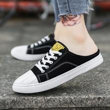 Men's Casual Shoes 2019 Fashion Canvas Men's Shoes Sports Shoes Unisex Vulcanized Shoes Half Drag Lazy Women's Shoes Flat Shoes shoes gusto shoes