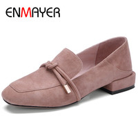 ENMAYER Square Heel Shoes Woman Round Toe Womens Pumps Dress Shoes Black Gray Pink Slip on Shoes Large Size 34 42