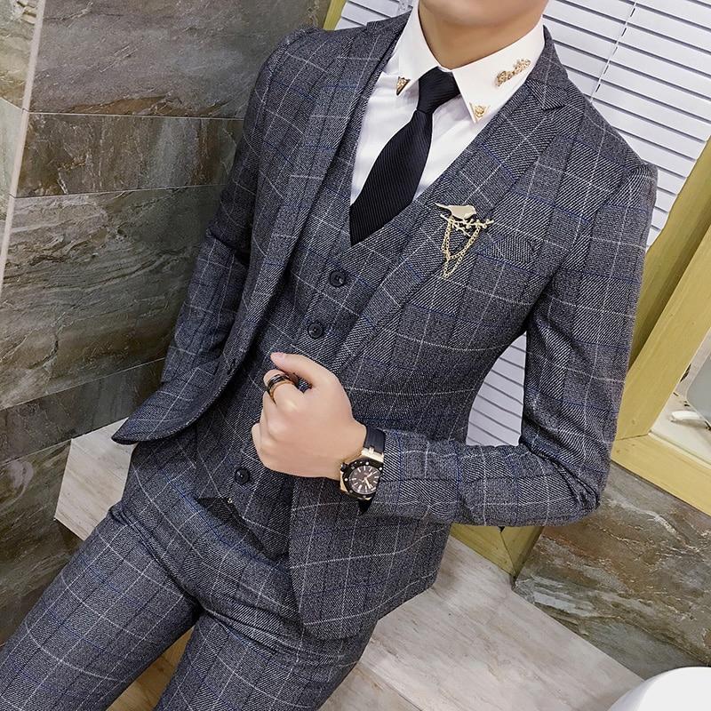 (Vestes + gilet + pantalon) hommes haut de gamme costume marque Plaid formel marié robe de mariée/hommes classique Plaid décontracté costume d'affaires-in Costumes from Vêtements homme    1