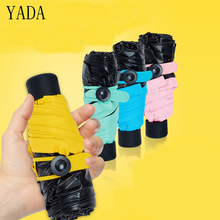 YADA New Solid Color Ultralight Mini Folding korean Umbrella Rain Women uv Cute Charm For Windproof Umbrell YS307