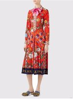 New Arrival 2017 Pre Fall Red Color Full Sleeve Dress Fashion Woman S Floral Print Lapel
