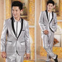 Fashion grey pant suits Studio male wedding dress men's jacket slim fit blazers man ternos masculino 2016 blazer men suit