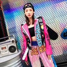 TREND-Setter 2018 Autumn Fashion Punk Style Pink Leather Jacket Women Slim Rivet Motorcycle Jacket Graffiti Pattern