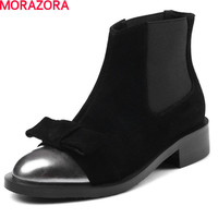 MORAZORA Hot Sale Cow Suede Elastic Cloth Shoes Ankle Boots For Women Low Heels Shoes 3