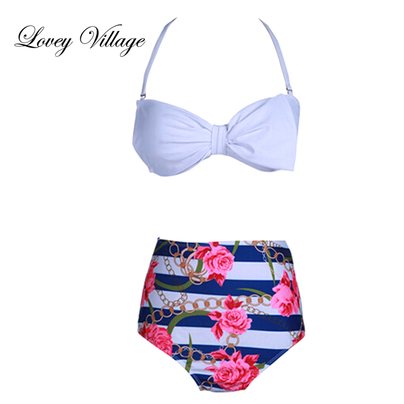 Lovey Village 2017 New Bikinis High Waist Swimsuit Women Plus Size Swimwear Print Vintage Retro Floral Beach Push Up Bikini Set summer sexy swimsuit vintage high waist bikini retro push up swimwear women plus size bathing suit printed floral bikinis set