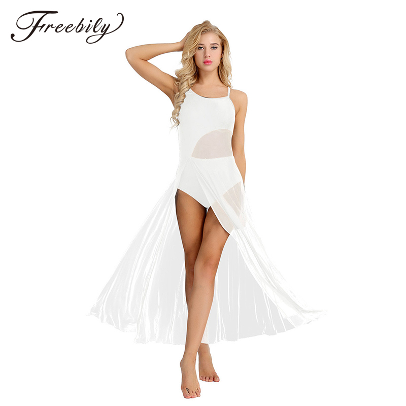 New Women Sleeveless Asymmetrical Mesh Ballroom Dancing Maxi Dress With Built-In Leotard Ballerina Stage Lyrical Dance Costumes