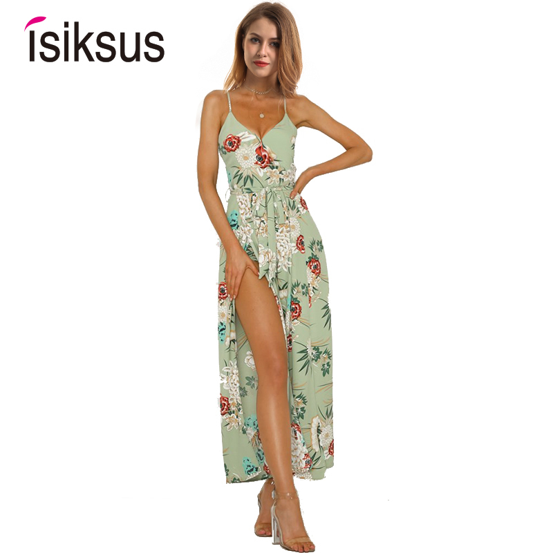 93f29e9c21 Isiksus 2018 Sexy V-neck Backless Print Lace Up Summer Women Rompers  Jumpsuit Elegant Beach Vintage Wide Leg Jumpsuit JS010