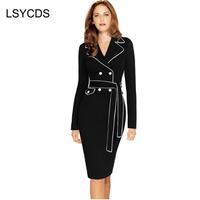 Womens Winter Autumn Wear 2016 New Arrival Patchwork Knee Length Full Sleeve Casual Bodycon Pencil Dresses
